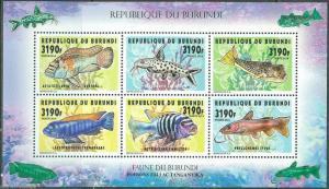 BURUNDI 2014 FISH OF LAKE TANGANYIKA I  SHEET OF SIX  MINT NH