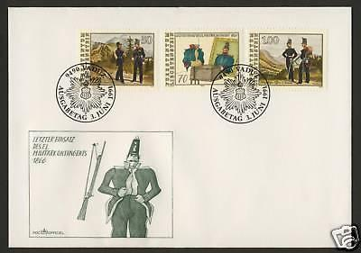 Liechtenstein 964-6 on FDC - Military Uniforms
