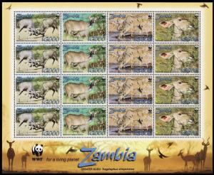 Zambia WWF Greater Kudu Sheetlet of 4 sets SG#1049-1052 MI#1606-1609 SC#1103a-d