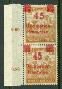 Hungary 1919 French Occupation 45f/2f Sc #1N18 Pair Variety Mint M898 ⭐⭐