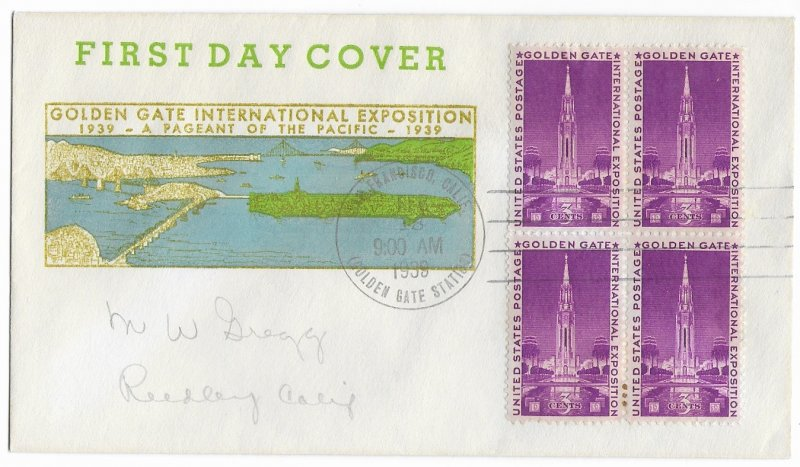 #852 FDC, 3c Golden Gate Int'l Expo, M. W. Dregg cachet, block of 4