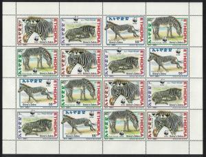 Ethiopia WWF Grevy's Zebra Sheetlet of 4 sets SG#1816-1819 MI#1704-1707 SC#1533