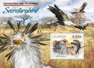 Uganda 2012 ENDANGERED SPECIES AFRICAN BIRDS OF PREY s/s  Perforated Mint (NH)