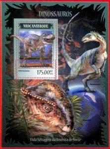A4230 - MOZAMBIQUE - ERROR MISPERF, Souvenir sheet: 2014, Dinosaurs, Prehistory