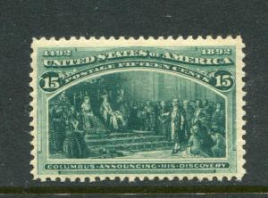 UNITED STATES (US) 238, 15c COLUMBIAN, MNH APS CERTIFICATE, LOVELY