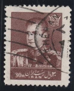 Persian stamp, Scott# 1148 used, 30 rl, chocolate. 1960,  Shah, crown,  #a0027
