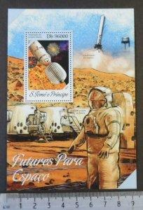 St Thomas 2013 future space exploration mars s/sheet mnh