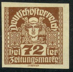AUSTRIA 1920-21 72h MERCURY Newspaper Stamp Sc P43 MH