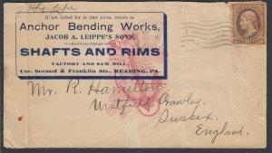 US, 1903 10c Banknote Auf Anker Biegen Werke Werbung Abdeckung Von Reading Pa