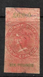 NEW ZEALAND 1867 6pound ORANGE IMPERF  QV FISCAL FU