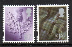 Great Britain Scotland Sc 40-1 2012 87p thistle  £1.28 tartan stamp set mint NH