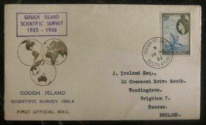 1955 Gough Island Tristan da Cunha Scientific Survey Cover to Brighton England