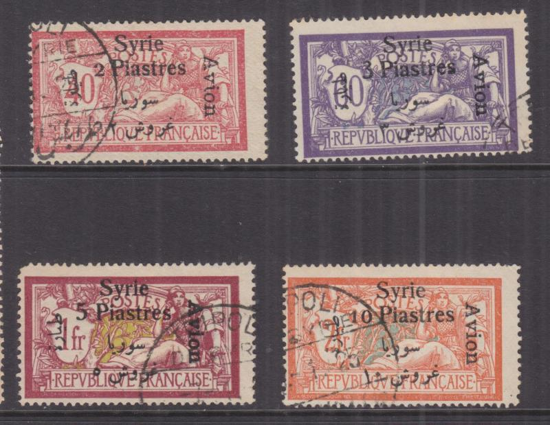 SYRIA, 1924 Syrie & Arabic, Air overprint set of 4, used.
