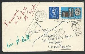 GB TO CAMEROON 1966 cover to Douala taxed, Unknown etc.....................58109