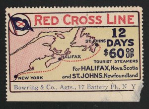 Canada Red Cross Line Steamers Poster Stamp - New York to Halifax to St. Johns