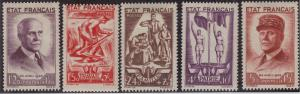 FRANCE MH Scott # B153-B157 Marshall Petain - remnants (5 Stamps)