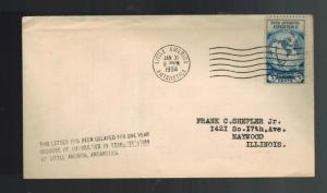1934 Little America Antartica Cover to Maywood IL USA Byrd Expedition 1 yr Delay