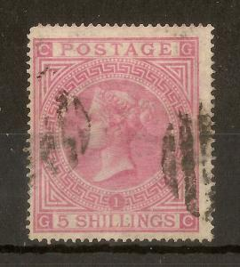 GB 1867 QV 5/- Rose SG127 Used Cat£675