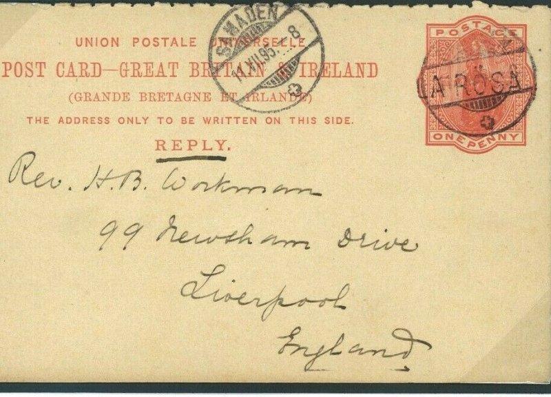 GB REPLY CARD USED SWITZERLAND *Arosa* EARLY SWISS VILLAGE CANCEL 1895 O115