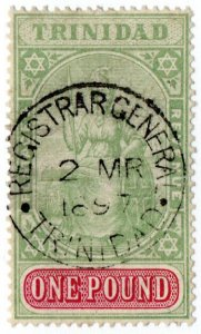(I.B) Trinidad Revenue : Duty Stamp £1 (Registar General)