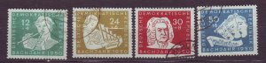 J23272 JLstamps 1950 germany DDR used hinged set #b17-20 music bach