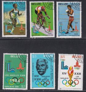 Belize # 555-560, Los Angeles Summer Olympics, CTO