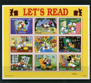 PALAU 1998 Sc#447 WALT DISNEY LET'S READ SHEET OF 9 STAMPS MNH