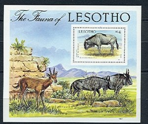LESOTHO WIDEBEEST #592...SOUV. SHEET...MNH...$5.75...MNH...$2.00