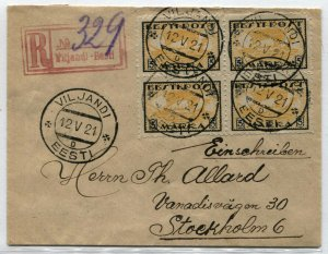 ESTONIA to SWEDEN Eesti Post #35 Stamps Postage Block on Cover Registered 1921