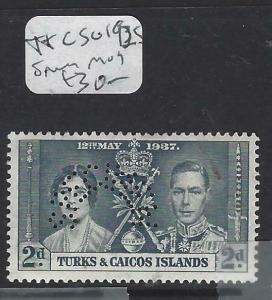 TURKS AND CAICOS   (P3103B)  KGVI CORONATION 2D  SG 192S  SPECIMEN  MOG