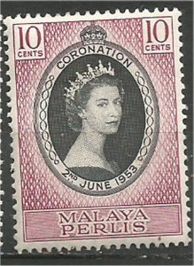 MALAYA,  Perlis 1953, MH, 10c, Coronation Scott 28