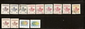 CANADA  STAMPS USED -MAPLE LEAF DEFINITIVES LOT#186