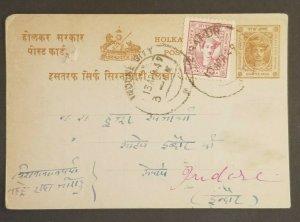 1941 Zirapur Indore State India Maharaja Yeshwant Tukoji Stamps Postcard Cover
