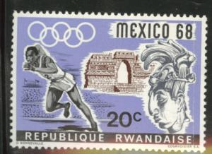 RWANDA Scott 250 MH*  1968 Mexico Olympic stamp