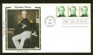 1852 THAYER FDC BRAINTREE, MA COLORANO SILK CACHET