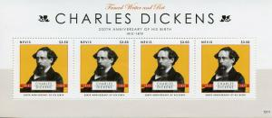 Nevis 2012 MNH Charles Dickens 4v M/S Writers Poets Famous People Stamps