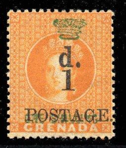 Grenada 1886 1d on 1 orange SG 38 mint