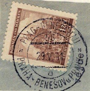 BÖHMEN u. MAHREN 1941 PRAG-BENESCHAU TPO n°56 a bilingual CDS on Mi.41