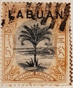 LABUAN (North Borneo) 1897,  3 cent, brown/black.