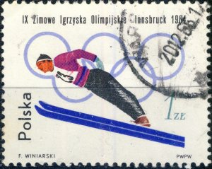 POLAND / POLEN - 1964 Mi.1461A 1Zl Winter Olympics (Ski Jumping) - VF Used (a)