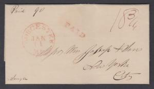 US, 1829 Stampless SFL, Worcester CDS, Red PAID + 18¾ Rate Mark