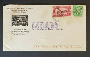 Bacolod Philippine Islands to New Bedford MA Philatelic Air Mail Cancel Cover