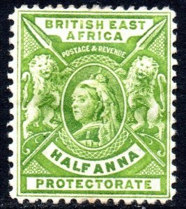 1896 Sg 65 British East Africa ½d yellow-green Mounted Mint