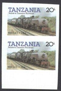 Tanzania Sc# 273 MNH pair IMPERF (ERROR) 1985 20sh Locomotives