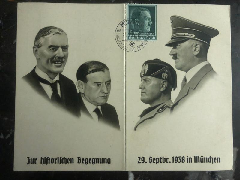 1938 Munich Germany Postcard Cover The historical meeting