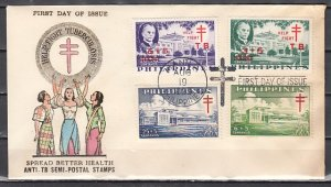 Philippines, Scott cat. B12-B15. Anti-TB, Health issue. First day cover.
