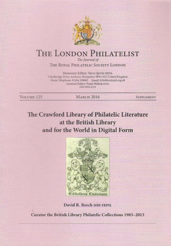 CRAWFORD LIBRARY of PHILATELIC LITERATURE British Library in DIGITAL FORM
