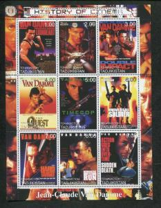 Tajikistan Commemorative Souvenir Stamp Sheet - Cinema - Jean-Claude Van Damme