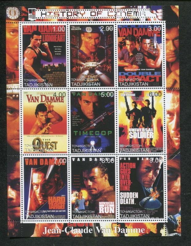 Tajikistan Commemorative Souvenir Stamp Sheet - Cinema - Jean-Claude Van Damme