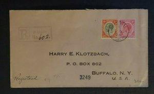 1926 Castries St Lucia Cover to Buffalo NY via New York City Registered Cover